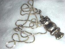Vintage Sterling Silver Modernist Owl Pendant Necklace Or Charm