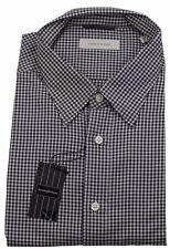 Ermenegildo Zegna Black Small Check Shirt Made in Italy BNWT Size XXL / 43/17