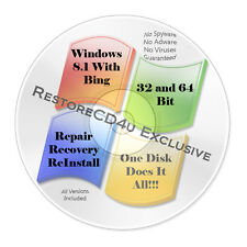 Windows 8.1 w/BING DVD All Versions 32 & 64bit - Install, Recovery, Repair  w/HD