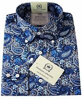 Relco Men's Blue Paisley Shirt Long Sleeve Button Down Collar Mods 60's Indie