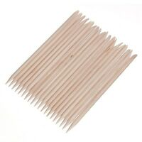 100 pcs Cuticle Pusher Remover Wood Sticks Orange Nail Art Manicure Disposable