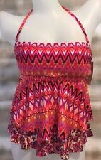 Kenneth Cole Tiered Ruffle Bandeau Tankini Top Pink Coral $68 NWT NEW Small 4 6