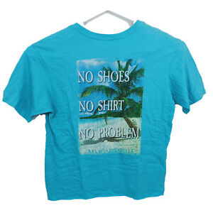 Jimmy Buffetts Margaritaville Mens T-Shirt Size M Blue Shortsleeve Tropical