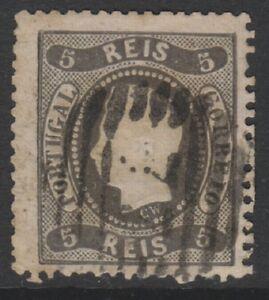 Portugal - 1867, 5r Schwarz (Typ I) - 4 Ränder - Gebraucht - Sg