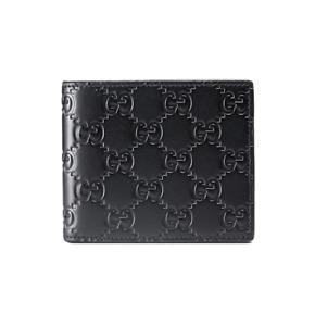 Gucci Black Signature Leather Monogram Gg Logo Credit Card Holder Bifold Wallet