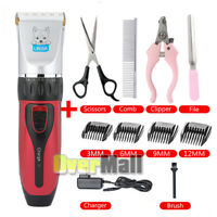 Low-noise Electric Animal Pet Dog Hair Trimmer Shaver Grooming Clipper Kit Red