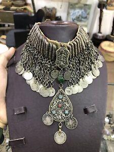 Amazing Very Rare Antique Islamic Ottoman Silver High Caliber Necklace Stone1293