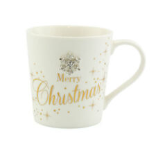 Christmas mugs Cream and gold Diamante Snowflake Merry Christmas Mug Happy Xmas