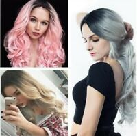 9A Synthetic Hair Full Wigs Natural Long Wavy Wig Heat Resistant Multi Color