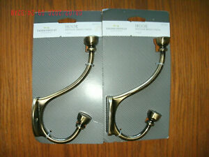 Lot of 2 NEW Coat & Hat Wall Hooks antique brass holds up to 35 lb w/ shelf wear