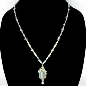 Sterling Silver Green Sea Glass Fish Bead Necklace
