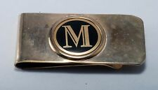 """Vintage Collectible  Letter """"M""""  In Circle  Enamel & Silver Tone Money Clip Used"""