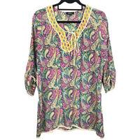 Tolani Womens Silk Paisley Boho Tie Neck 3/4 Sleeve Blouse Size Large