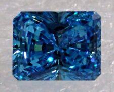 Beautiful Vibrant Blue Radiant Cut Cubic Zirconia (CZ) 9x7mm Loose Stone