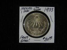 1933 MEXICO 1 PESO  .720 SILVER FROSTY LUSTER GEM BU