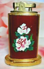 """1930'S BRASS ENAMEL ROSES TABLE LIGHTER COLLECTIBLE SPARKS """"Y IN YACHT"""" JAPAN"""
