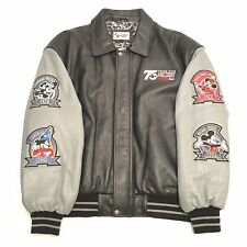 Disney World Leather Jacket Mens 3XL 75 Years Mickey Mouse Patches Black Gray