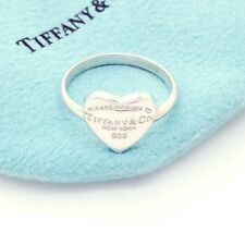Please Return To Tiffany & Co Sterling Silver Heart Ring Band Size 9 Pouch