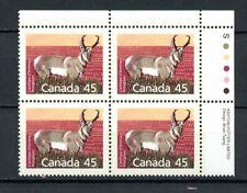Canada MNH #1172 Plate Block UR Pronghorn Defin 1990 K458