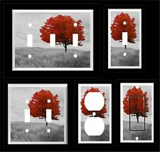 RED TREE IN FIELD BLACK AND WHITE LIGHT SWITCH COVER PLATE