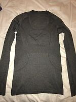 Lululemon Gray Black Run Swiftly Tech Long Sleeve Scoop Neck LS Shirt Run Top 6