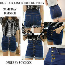 Womens Ladies Vintage High Waisted Denim BeachShorts Jeans Hot Pants UK Vincenza