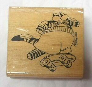 Rubber stampede vintage 90s Kliban cat rubber stamp Skateboarding skateboard cat