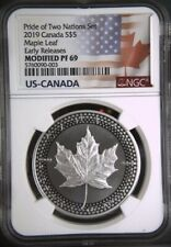 2019 $5 Canadian Modified Silver Maple Leaf  NGC PF69 Pride of Two Nations ER