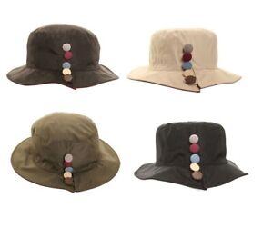 LADIES RAIN HAT SHOWERPROOF WIDE BRIM COUNTRY BUCKET HAT 4 COLOURS UK SELLER