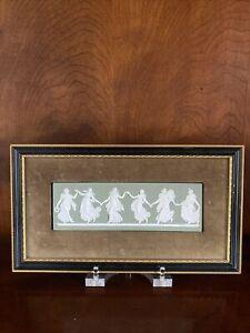 Vintage Wedgwood Sage Green Jasperware Dancing Hours Framed Plaque