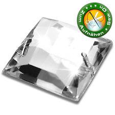 100 Strass-Steine zum Aufnähen, 10 mm, Crystal, quadratisch,  (aus Acryl)