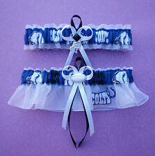 Indianapolis Colts Fabric Wedding Garter Set Prom Football Double Heart Charm