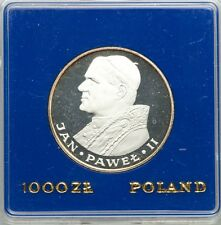 """POLAND  1983  1,000 ZLOTYCH  """"POPE JOHN PAUL II """"  GEM CAMEO PROOF SILVER COIN"""