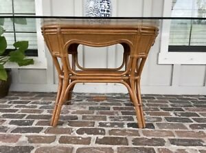 Tommy Bahama Style Glass Dining Table Vintage Rattan Wicker Glass NOT Included
