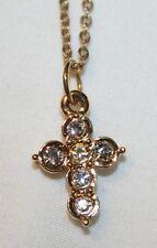 Dainty Small Pave Rhinestone Child's Goldtone Cross Pendant Necklace