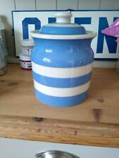 LOVELY LARGE T G GREEN CORNISHWARE CORNISH BLUE BISCUIT/PASTA JAR WITH LID