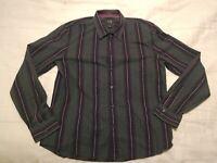 Armani Exchange Men's Slim Fit XL Gray Pink Stripes Long Sleeve Button Up Cotton