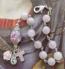 New Handmade Light Pink Quartz Millefiore Crystal Christian Charm Bracelet