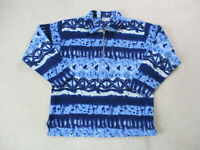 VINTAGE Sergio Tacchini Sweater Adult Extra Large Blue Fleece All Over Print 90s