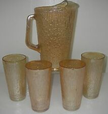Jeannette Glass TREE BARK Variant Marigold 5 pc Beverage Set Pitcher tumblers.