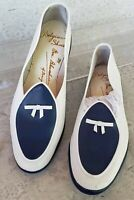 Belgian Shoes midinette loafer womens size 7 navy blue white Calf leather
