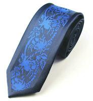 Skinny Tie Blue Black Patterned Handmade 100% Silk Wedding Necktie 6cm Width