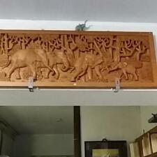 Wood carving group elephant length 40 width 100 thickness 3.5 cm wall hanging