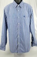 AMERICAN EAGLE Men's Button Down Shirt Vintage Fit Blue White Stripes Size XL