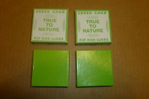 COUPLE OF CREEK CHUB BAIT CO. TRUE TO NATURE FLY ROD LURE EMPTY BOXES INDIANA