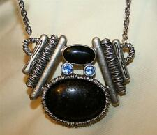 Handsome Heavy AJMC Ebony Speckle Oval Blue Rhinestone Lined Abstract Necklace