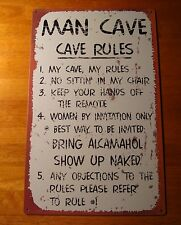 MAN CAVE RULES Rustic Weathered Lodge Cabin Decor Sign NEW