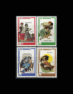Dominica, Sc #754-57, MNH, 1982, Golden Days, Norman Rockwell, Paintings, FRIAR6