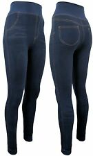 Damen Winter- Leggings gefüttert - Jeans Optik - blau o. schwarz - Teddyfutter