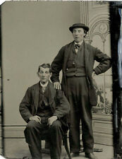 CIVIL WAR ERA TINTYPE PHOTO PORTRAIT OF TWO MEN, FATHER AND SON